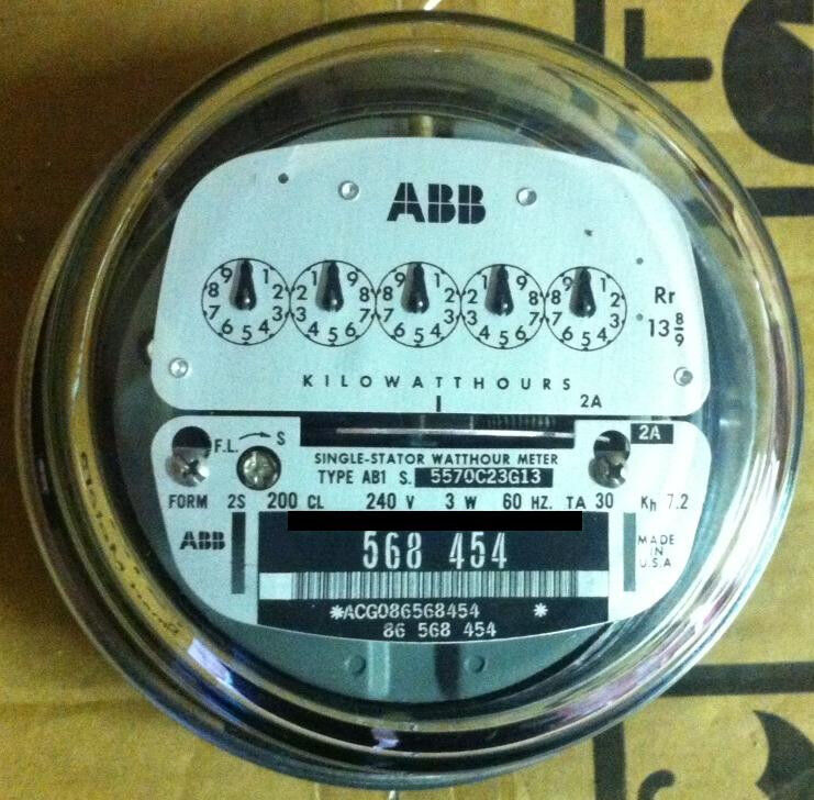 ABB, WATTHOUR METER (KWH) AB1, 5 POINTER, 4 LUGS, 240V, 200A, FM 2S, ZERO RESET
