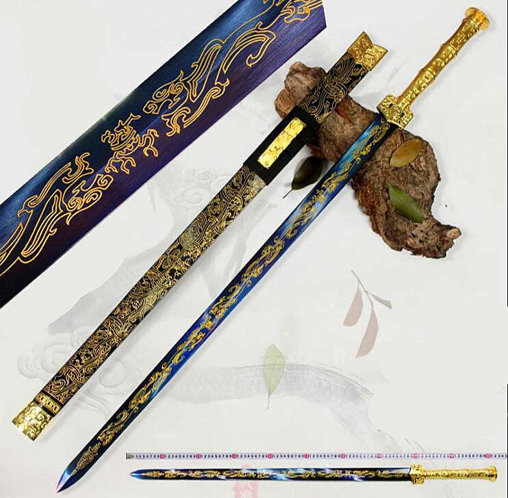 Chinese Sword Han Dynasty Battle Jian Blue High Manganese Steel Gilt Blade Sharp