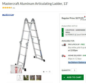 Ladder, Aluminium, Articulating, 13' foot, like new condition