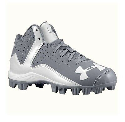 NEW Under Armour Leadoff Mid RM Kids Baseball Cleats Youth Boy/Girl Gray 2.5 Y
