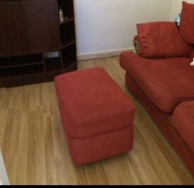 Red three settee sofa set with two chair and one foot stool!