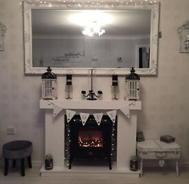 Professionally Handmade Electric Fire Stove Surround With Hearth & Back Panel