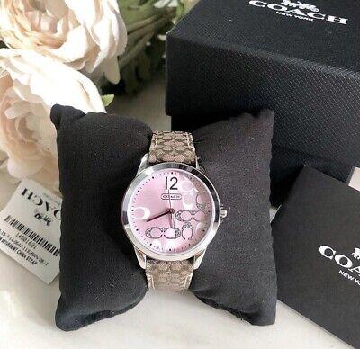 NIB 14501621 AUTHENTIC Coach Boyfriend Signature Fabric Leather Pink Face Watch