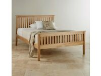 Double bed solid oak frame Cairo style + mattress