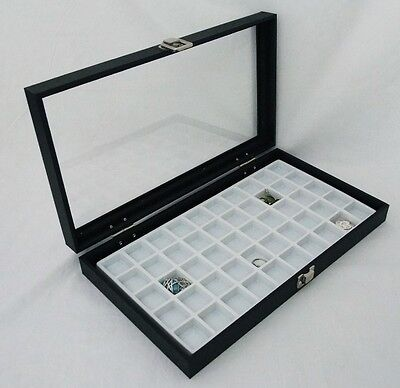 50 Slot Multipurpose Glass Top Jewelry Display Case White