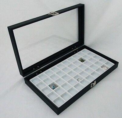 50 Slot Multipurpose Glass Top Jewelry Display Case White