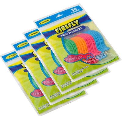 4 Bags  Firefly Dental Picks Kids Flosser for 4-12 years Total 120 Floss - Fireflies For Kids