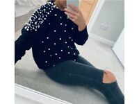 Pearl Trim Knitted Jumper