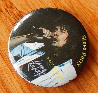 "Vintage 1984 STEVE PERRY Lead Vocal White Shirt JOURNEY 1 1/4"" Button Pin"