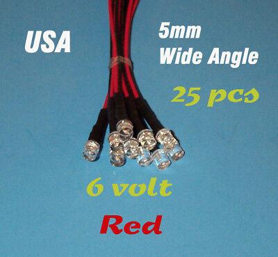 25 Pre Wired Red Led Wide Angle Lights 5mm 6 Volt 6v