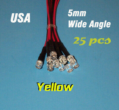 25 Pcs Led - 5mm Pre Wired Leds 12 Volt Wide Yellow 12v Prewired Flat Top