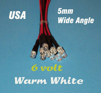 10 X Led - 5mm Pre Wired 6 Volt Wide View Warm White 6v