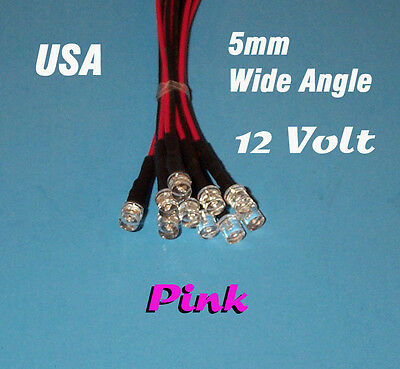10 X Led - 5mm Pre Wired 12 Volt Wide View Pink 12v Prewired