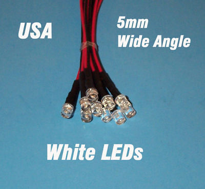 10 Pcs Led - 5mm Pre Wired 12 Volt Wide View Angle White Leds 12v Prewired