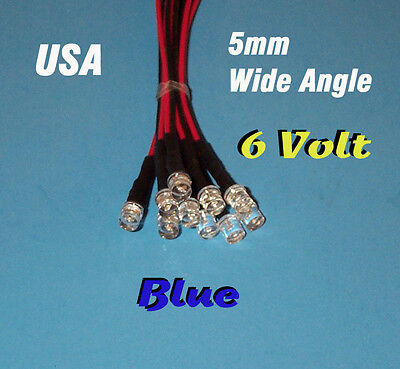 10 Pcs Led - 5mm Pre Wired 6 Volt Wide View Angle Blue Prewired 6v