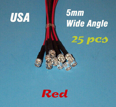 25 Pcs Led - 5mm Pre Wired Leds 12 Volt Wide Red 12v Prewired Flat Top