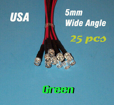 25 Pcs Led - 5mm Pre Wired Leds 12 Volt Wide Green 12v Prewired Flat Top