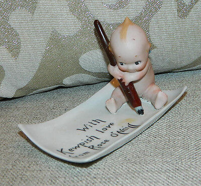 """""""AS IS"""" Antique Action Kewpie Rose O'Neill ca.1913 Pen Tray With Kewpish Love"""
