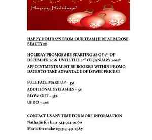 HOLIDAY HAIR MAKE UP PROMO AT YOUR OWN HOME!!! West Island Greater Montréal image 3