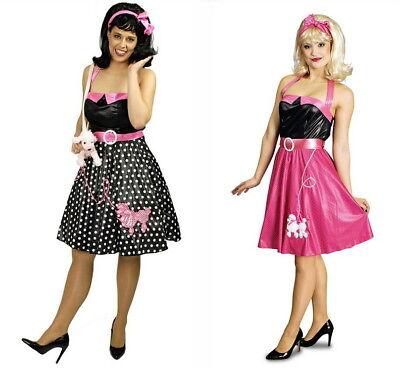 Petticoat Tanzkleid 50er Jahre Stretch-Kleid Kostüm 36/38-44/46 Pink Schwarz (50er Jahre Pink)