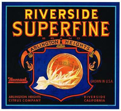 Orange Crate Label Riverside County CA 1930s Superfine