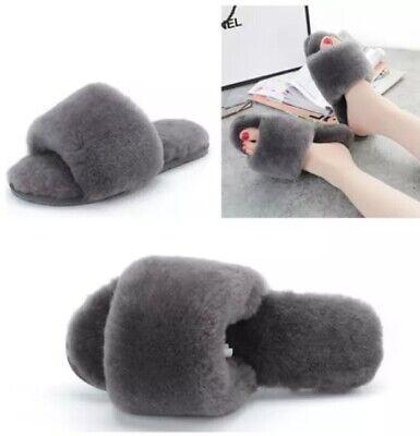 CO-SY Ladies Womens Genuine Wool Sheepskin Indoor Open Toe Hard Sole Slippers