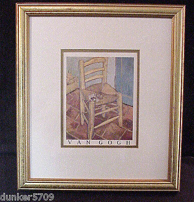 "VINCENT VAN GOGH ""THE CHAIR"" PRINT GOLD TONED WOOD FRAME 16 BY 18 INCHES"