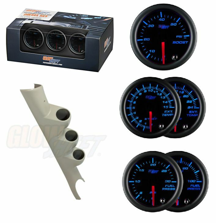 GSTinted 7Color Set-Boost,2400F EGT,30PSI Fuel Press&Taupe Pod For 03-09 Cummins