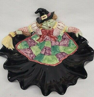 Halloween Large Ceramic Witch Candy Bowl Basket Treat Dish Plate Fitz & Floyd