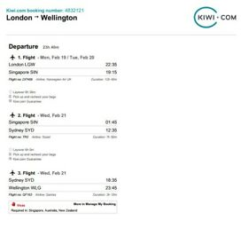Flight from London - Wellington NZ. 19th February. £500 one way! inc luggage!
