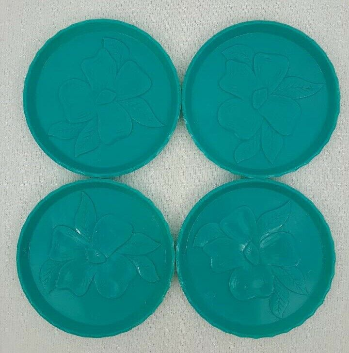 1950's Vintage Aqua Teal Stackable Coasters With Engraved Flowers Plastic (4)