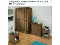 4pc dark pine wardrobe set
