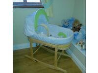 ##SOLD##Baby Moses basket and rocking stand, like new!