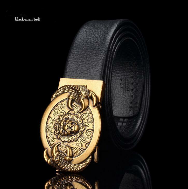 Luxury Lion Designer Men/'s Automatic Sliding Ratchet Buckle Genuine Leather Belt