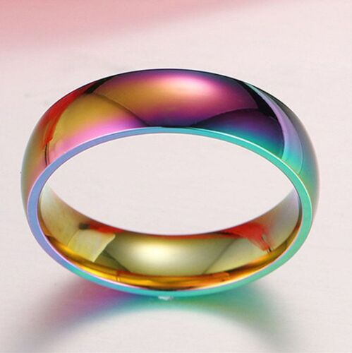 Magic Colorful Rainbow Stainless Steel Couple Wedding Band R