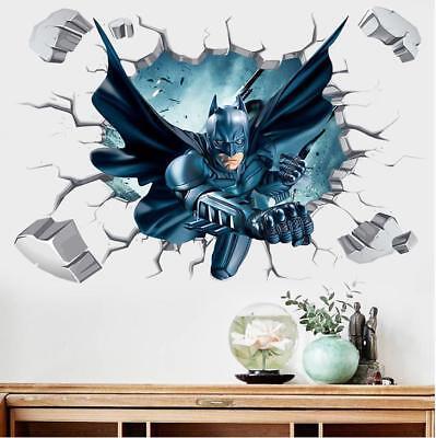 US 3D Wall Stickers Batman Bat Man Kids Cartoon Room Decal Wallpaper Removable (Batman New Wallpaper)