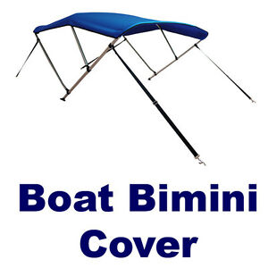 New-Boat-Bimini-Top-Cover-46-H-x-6-L-x-61-66-W-Blue-Zippered-Boot-Hardware