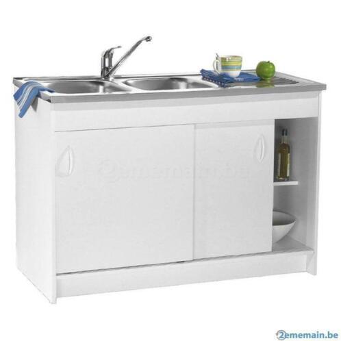 Meuble sous vier cuisine 100x50 avec porte coulissante - Meuble de cuisine avec porte coulissante ...