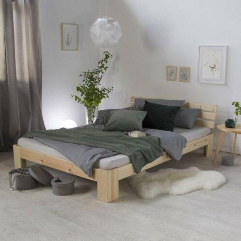 Lit bois naturel 180x200 cm lit adulte lit tendance chambre