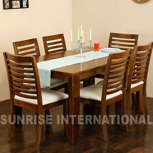 Wooden Dining Table With 6 Cushion Chairs Furniture Set EBay