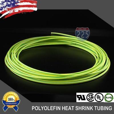 10 Ft. 10 Feet Green Yellow 332 2.5mm Polyolefin 21 Heat Shrink Tubing Us