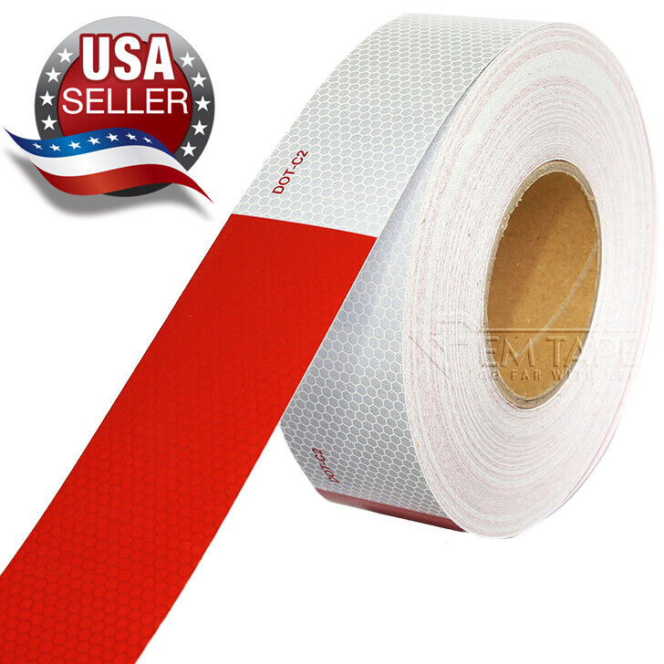 Red White High-Intensity Honeycomb Reflective Tape, DOT-C2 C