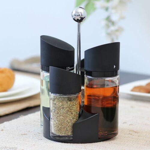 4Pc Salad Dressing Spice Herb Oil Vinegar Glass Rack