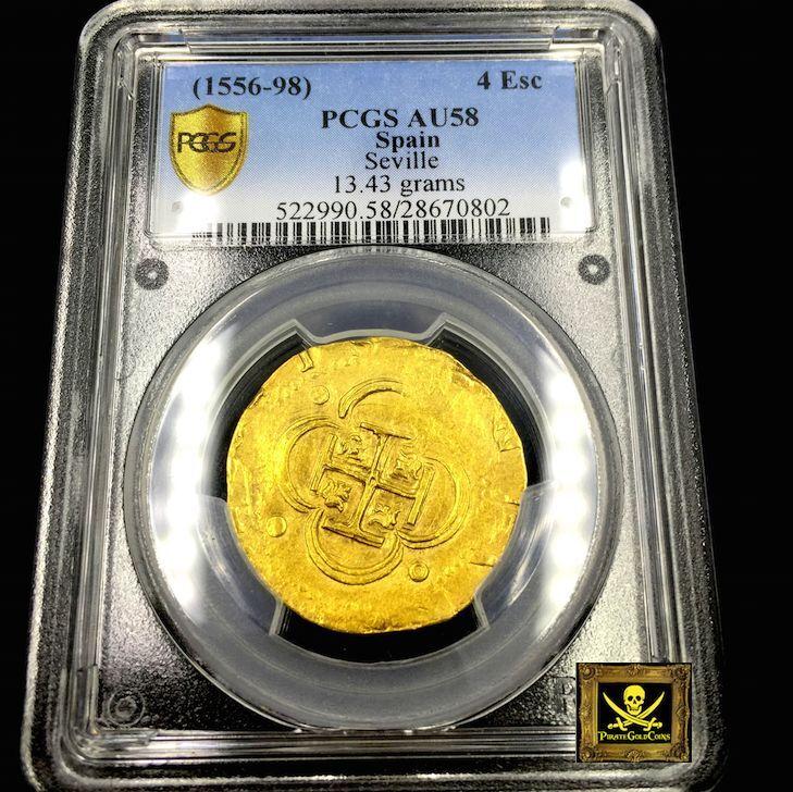 Spain Gold Cob 1556 4 Escudos King Philip Seville Doubloon Pirate Coin Treasure