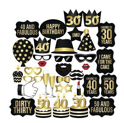 26PCS 21st 30th 40th 50th 60th Birthday Party Masks Favor Photo Booth Props US - 30th Birthday Favors