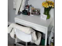 Small white desk and chair