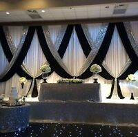 Wedding decor,Backdrop $400,table cloth, , chair cover, Rent