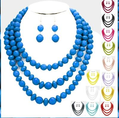 - Statement Multi Layered 3 Row Strand Beaded Chain Necklace Earrings Matte Chunky