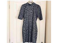 Grey/ silver leopard dress by topshop