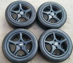 """4 STUD 15"""" WHEELS AND TYRES BLACK 4X114.3 ROH EXTREME 15X6.5 4/114.3"""